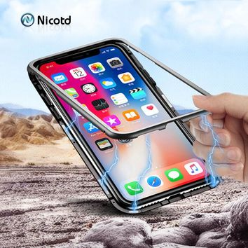 360 Magnetic Adsorption Phone Case For iPhone 8 Plus Tempered Glass Protective Case For iPhone X 7 8 Plus 360 back Glass Cover