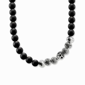 Two-Skulls Obsidian Natural Stone 925 Sterling Silver Necklace for Men's by Ritzy