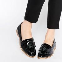 ASOS MAIN CHANCE Wide Fit Leather Flat Shoes