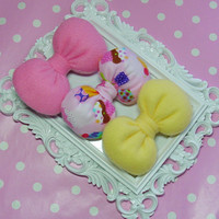 Girly Girl Bows GIFTSET Adorable girly hair bows clips - bubblegum pink bow cupcake bow yellow bow hair clip accessory