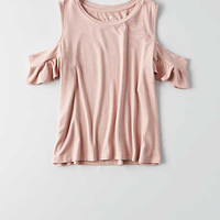 AEO Soft & Sexy Ribbed Cold Shoulder T-Shirt , Light Pink