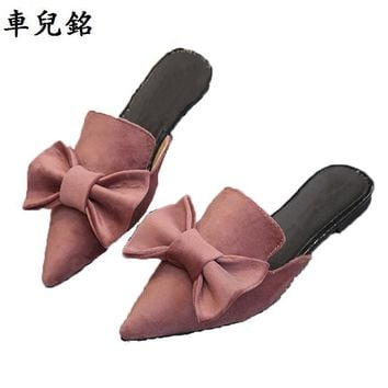 fashion mules summer flower shoes for women flat sandals pointed slipper woman slides