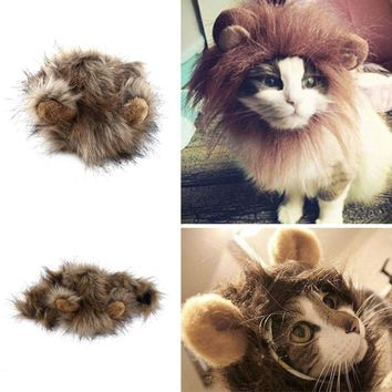2017 Funny Cute Pet Costume Cosplay Lion Mane Wig Cap Hat for Cat Halloween Xmas Clothes Fancy Dress with Ears Autumn Winter