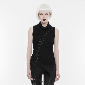 Goth Rock Lace Up Deconstructed Sleeveless Top