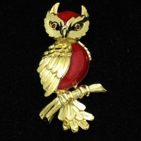 TRIFARI Red Lucite Owl Figural Brooch