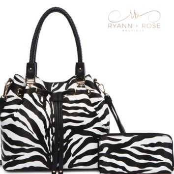 Zebra Satchel & Matching Wallet