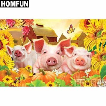 5D Diamond Painting Three Pigs in the Sunflowers Kit