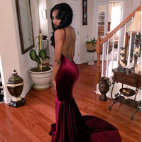2016 Mermaid Prom Dresses Robes Oriental Dubai Arabic Evening Gowns Sexy V-Neck Open Back Vestidos de Fiesta