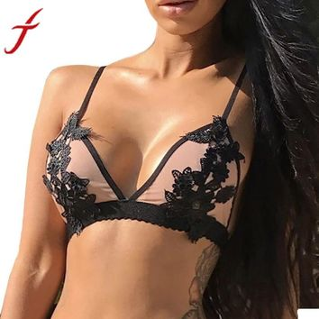 Sexy Women Flower Embroidered Bralette Bustier Crop Top Sheer Triangle Three Quarters Bra Everyday Wire Free Lace Bra