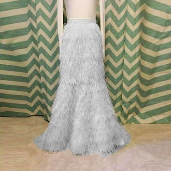 Luxury Feather Long Mermaid Skirts For Lady To Prom Party Custom Made Aso Ebi Floor Length Feather Skirt Women Abiye