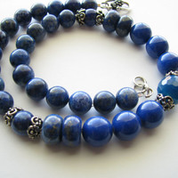 Blue Lapis Gemstone Necklace & Earring Set - Beaded Jewelry