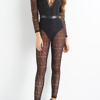 Love Yourself Lace Jumpsuit- Black