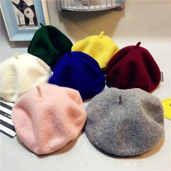Sale Solid Baby Girls Boinas Boina Feminina Hipster Joker Wool Felt Beret Multicolor Painter Hat for Children
