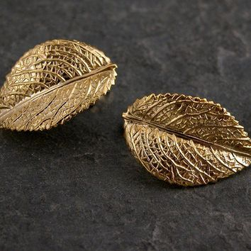 Gold Studs Earrings ,Raywood Gold Leaf Earrings - Gold Leaf Earrings Inspired By Mother Earth