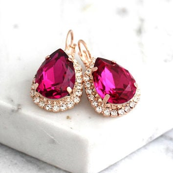 Pink Earrings, Fuchsia Earrings, Bridal Pink Earrings, Swarovski Crystal Earrings, Fuchsia Bridesmaids Earrings, Dark Pink Drop Earrings