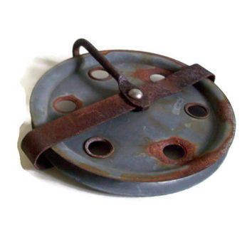 Industrial Vintage, Old Rusty Pulley, Steel Wheel, Industrial Decor, Restaurant Decor, Clothes Line Pulley