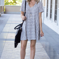 Alana Stripe Textured Grey V-neck Tee Dress