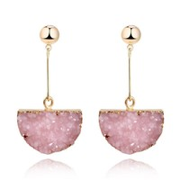 Pink Boho Stone Earrings