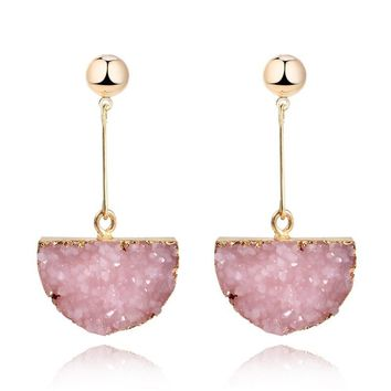 1Pair Resin Stone Druzy Earings For Women Jewelry Handmade Semicircle Drusy Drop Dangle Earing Eardrop Long Earrings E1450