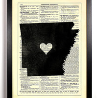 Arkansas State Dictionary Book Print Upcycled Book Art Upcycled Vintage Book Print Antique Dictionary Buy 2 Get 1 FREE
