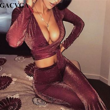 GACVG 2018 Rompers Women Jumpsuit Summer Sexy Mesh Perspective Two Pieces Set Crop Top Pant Clubwear Jumpsuit