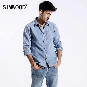 SIMWOOD 2019 spring New Denim Shirts Men Pocket Slim Fit Long Sleeve Denim Tops Male Blouses Plus Size Brand Clothing 180319