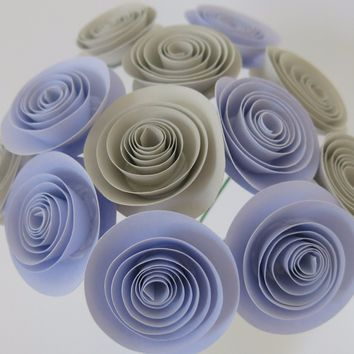 "lilac purple and grey paper flowers bunch, gray wedding decorations, 12 stemmed floral arrangements, bridal shower centerpiece decor 1.5"" blooms"