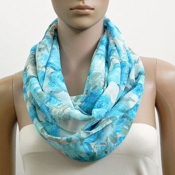 Floral Infinity Scarf Shawl Chunky Blue Fashion Scarves for Women Circle Cowl Scarf Long Tube Scarf Loop Summer Scarf Gift for her Handmade