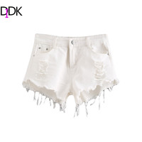 DIDK Women Summer New Arrival Casual Denim Shorts Ladies Mid Waist Buttoned Fly Ripped Raw Hem Pockets Skinny Shorts