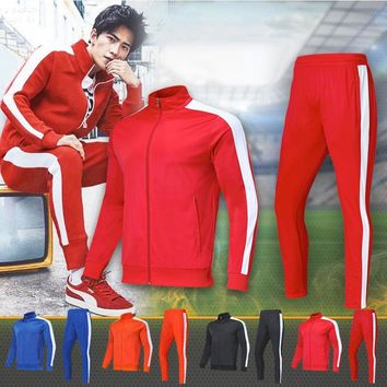 Shinestone Sweatshirt Men Tracksuit Men Set Sweat New 2018 Brand Autumn Winter 2PCS Asian 4XS-5XL Stand Full Zipper Top Pants