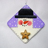 Tole Painted, White Snowman with Black Hat, Christmas Ornament, Square Wood Shape