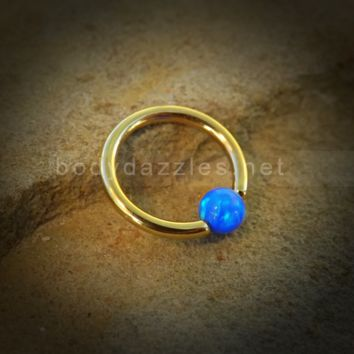 Golden Hoop Blue Opal Captive Hoop 16ga Surgical Steel Cartilage Tragus Heliz Conch