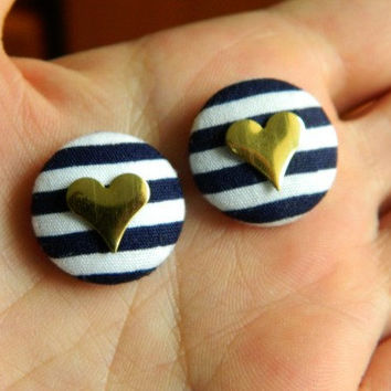 Button Earrings Navy Blue Stripes Gold Heart Nautical