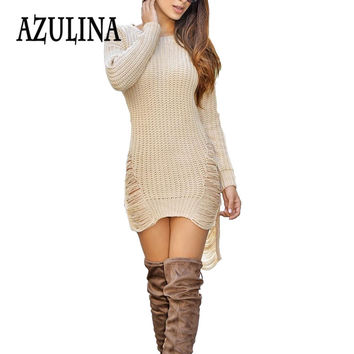 AZULINA Sexy Ripped Knitted Sweater Dress Women Winter 2016 Warm Party Club Dresses Bodycon Mini Short Jumper Dress vestidos