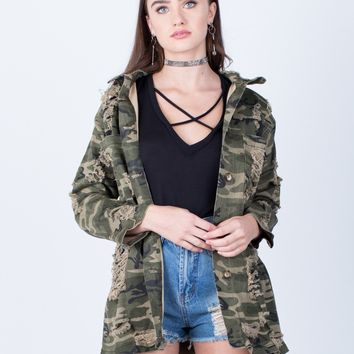 Destroyed Oversized Camo Jacket