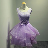 Cute Short Purple Homecoming Dresses,Lace Prom Dresses,Evening Gowns,Backless Homecoming Dresses