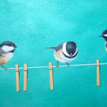 Yellow and teal decor, laundry room decor, artwork,bird art,chickadee painting,yellow gray,bathroom art,original teal painting canvas 12x24""