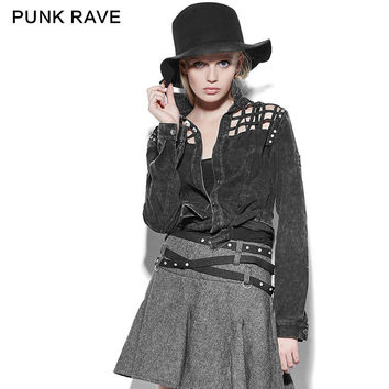 PUNK RAVE TURN-DOWN COLLAR CHECKERED PATTERN HOLLOW OUT DENIM JACKETS PY-171