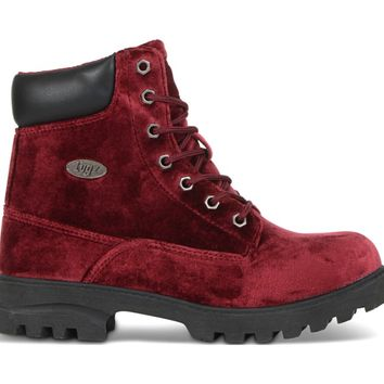 Lugz Empire High Velvet Lace Up Boot Ruby/Black