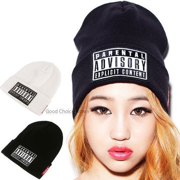 2014 Autumn Winter New Beanie Fashion PARENTAL ADVISORY EXPLICIT Beanie Hat Cotton Caps For Men/Women Hip-hop Skullies & Beanies = 1946712708