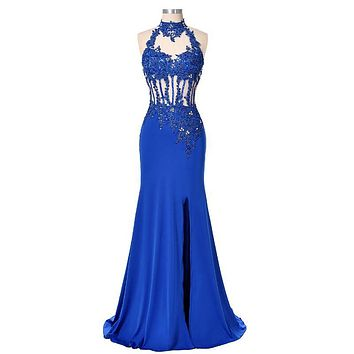 Sexy Backless Evening Dresses Long Party Gown High Split Beaded Formal Dress Royal Blue Mermaid Evening Dress Robe de Soiree