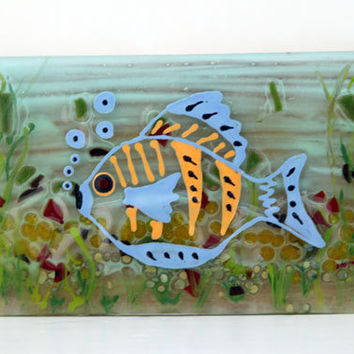 fused glass art Hand Painted , blue fish  Wall Decor