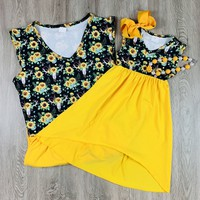 RTS Mommy and Me Sunflower Hi-Lo Dresses D36