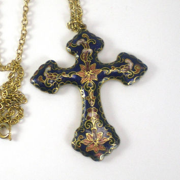 Cloisonne Cross  Necklace - Colorful  Enamel  Vintage Cross Pendant - Boho Hippie Necklace