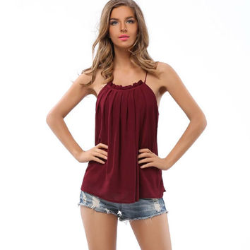 Ladies Camisoles  Pleated collar double-layer chiffon shirt wrinkled strapless Women Tank Tops  Camisoles F0116