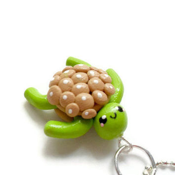 Kawaii Necklace Polymer Clay Kawaii Turtle