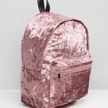 Missguided Crushed Velvet Backpack at asos.com