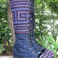 Vegan Womens Boots Purple Hmong Embroidery And Indigo Batik Boho Boots - Sadie