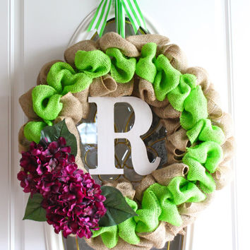 Burlap Wreath, Front Door Wreath, Hydrangea Wreath, All Season Wreath, Home Decor