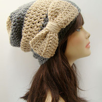 FREE SHIPPING - Bow Envy Slouchy Crochet Beanie Hat - Nude & Heather Gray with Nude Bow